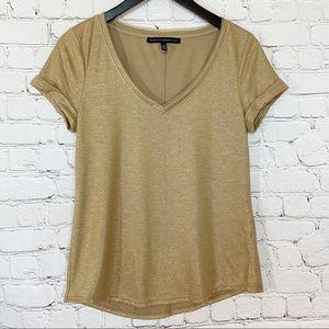 WHBM gold shimmer short sleeve top